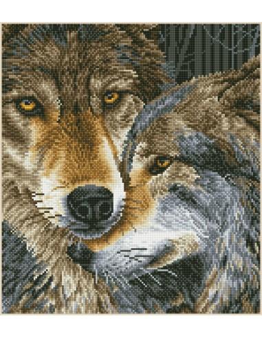 Kit DIAMOND DOTZ® Tendres loups