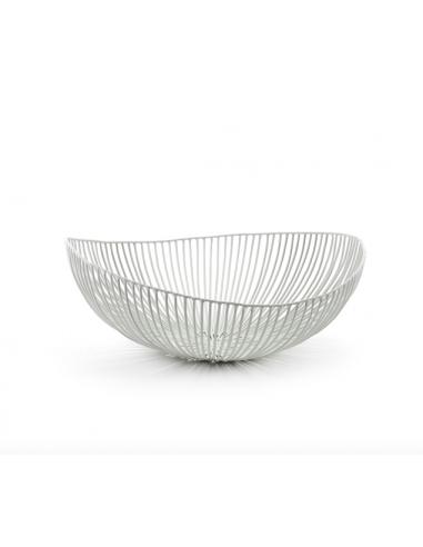 Plat ovale sculpture de métal  méo blanc
