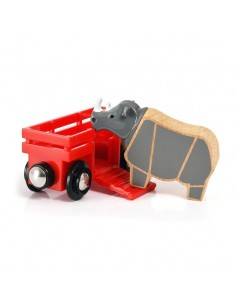 Wagon et rhinocéros